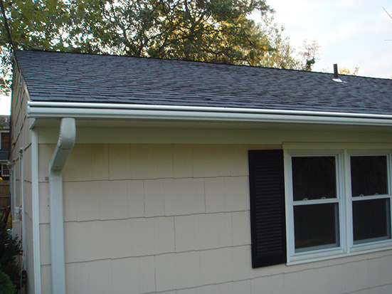 rain gutter installation example on house